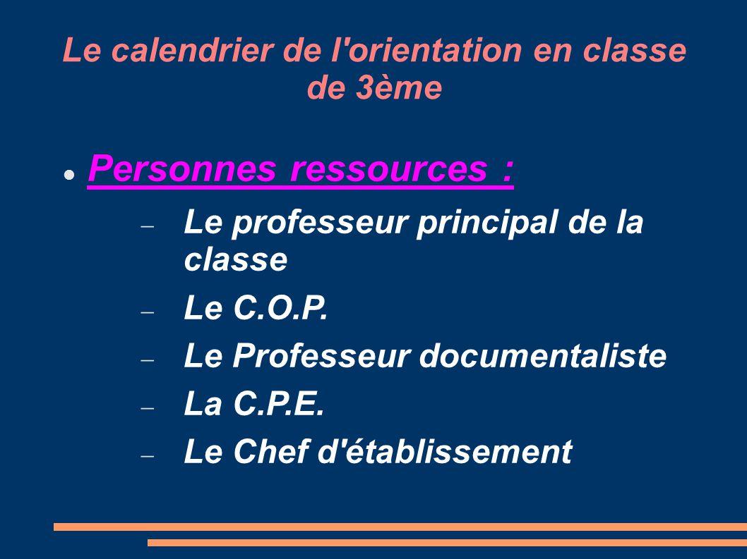 Le calendrier de l orientation en classe de 3ème Sites internet ressources : → Académie de Versailles :  http://www.ac-versailles.fr/public/jcms/c_5012/accueil http://www.ac-versailles.fr/public/jcms/c_5012/accueil → ONISEP:  http://www.onisep.fr/