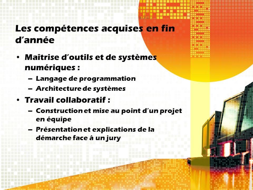 Les compétences acquises en fin d'année Maîtrise d'outils et de systèmes numériques : –Langage de programmation –Architecture de systèmes Travail coll
