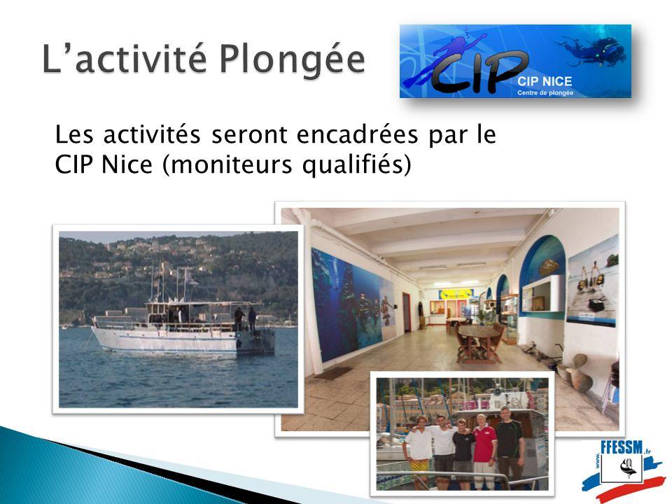 Les activités seront encadrées par le CIP Nice (moniteurs qualifiés)