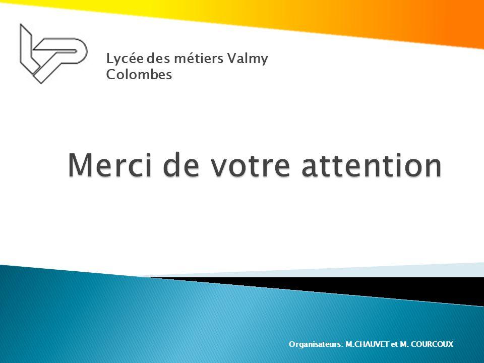 Lycée des métiers Valmy Colombes Organisateurs: M.CHAUVET et M. COURCOUX