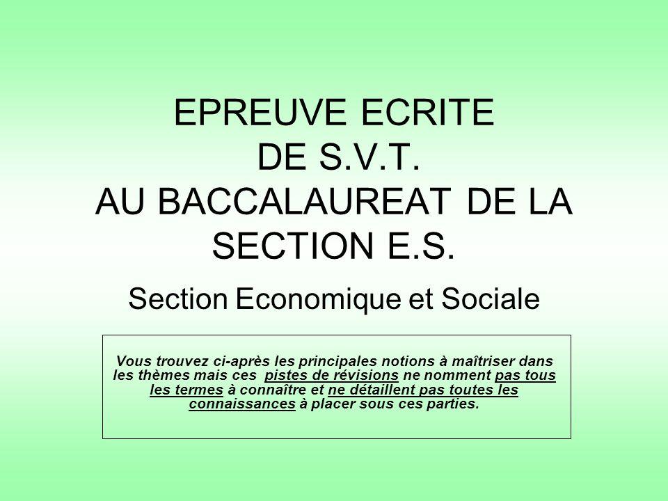 EPREUVE ECRITE DE S.V.T. AU BACCALAUREAT DE LA SECTION E.S. Section Economique et Sociale Vous trouvez ci-après les principales notions à maîtriser da