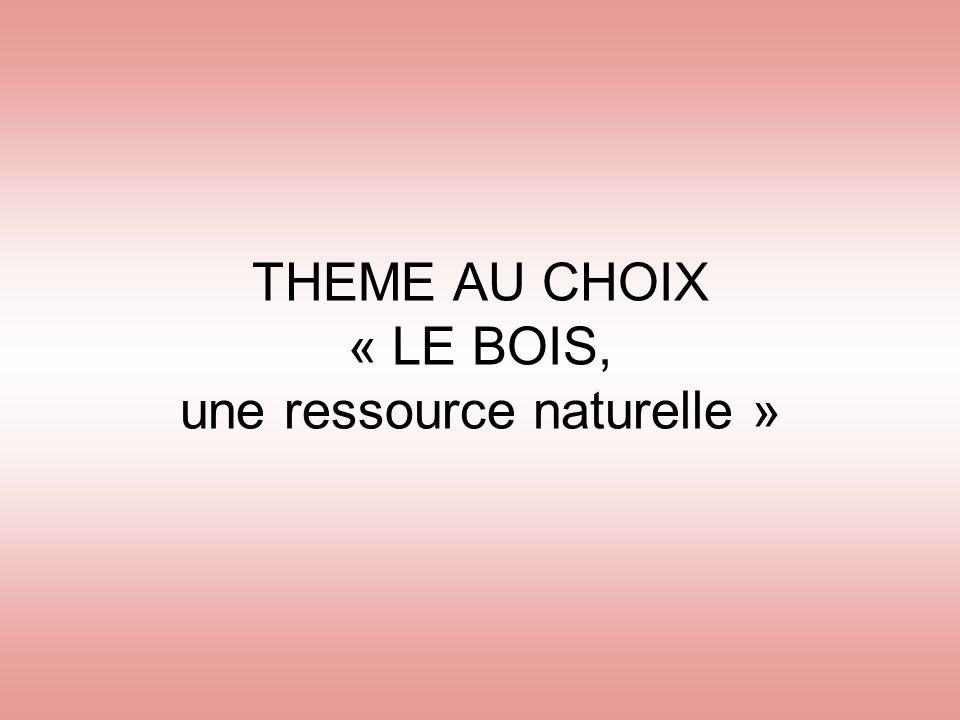 THEME AU CHOIX « LE BOIS, une ressource naturelle »