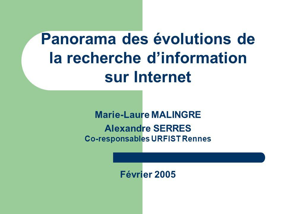 Panorama des évolutions de la recherche d'information sur Internet Marie-Laure MALINGRE Alexandre SERRES Co-responsables URFIST Rennes Février 2005