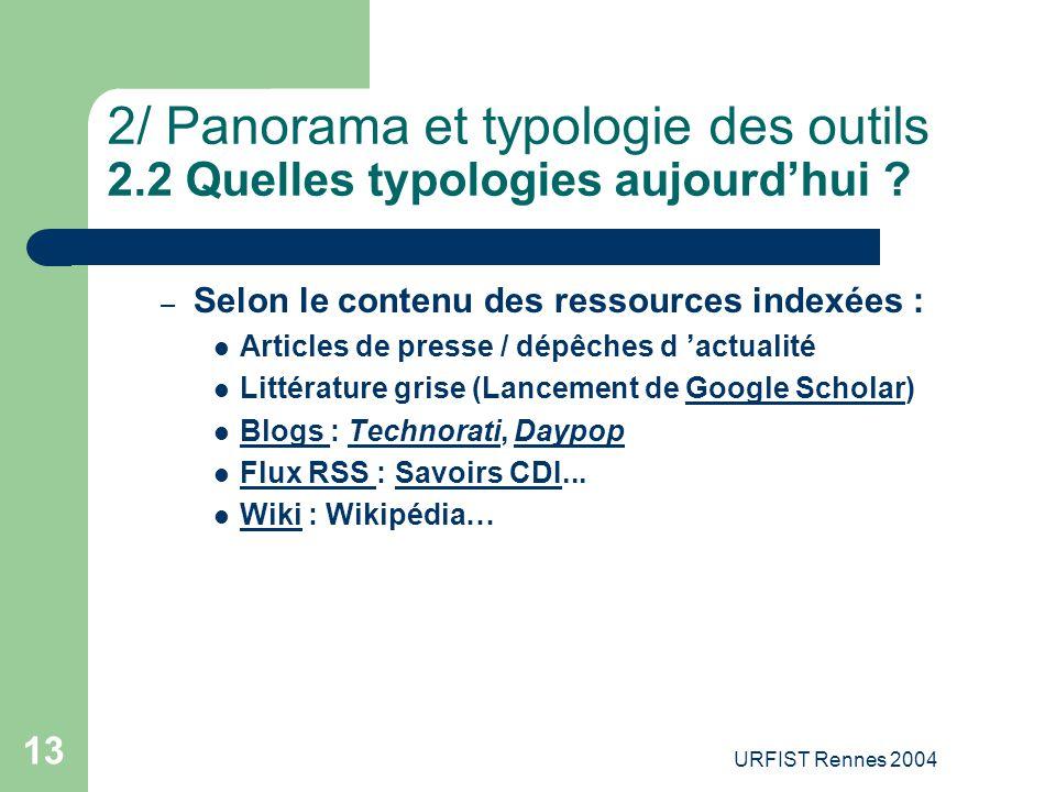 URFIST Rennes 2004 13 2/ Panorama et typologie des outils 2.2 Quelles typologies aujourd'hui ? – Selon le contenu des ressources indexées : Articles d