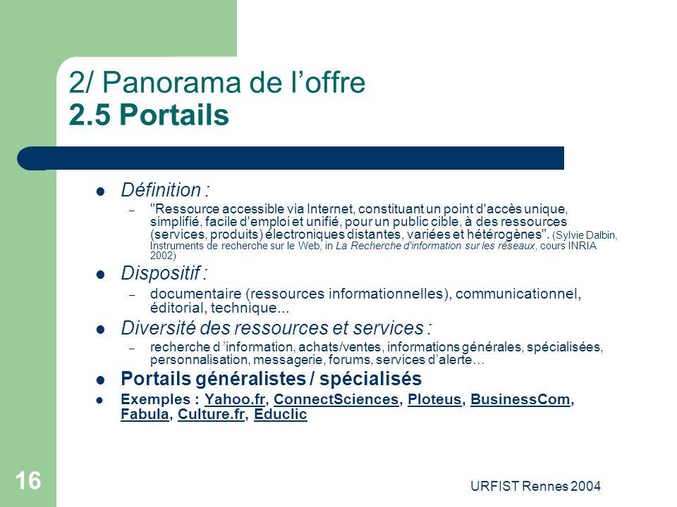 URFIST Rennes 2004 16 2/ Panorama de l'offre 2.5 Portails Définition : –