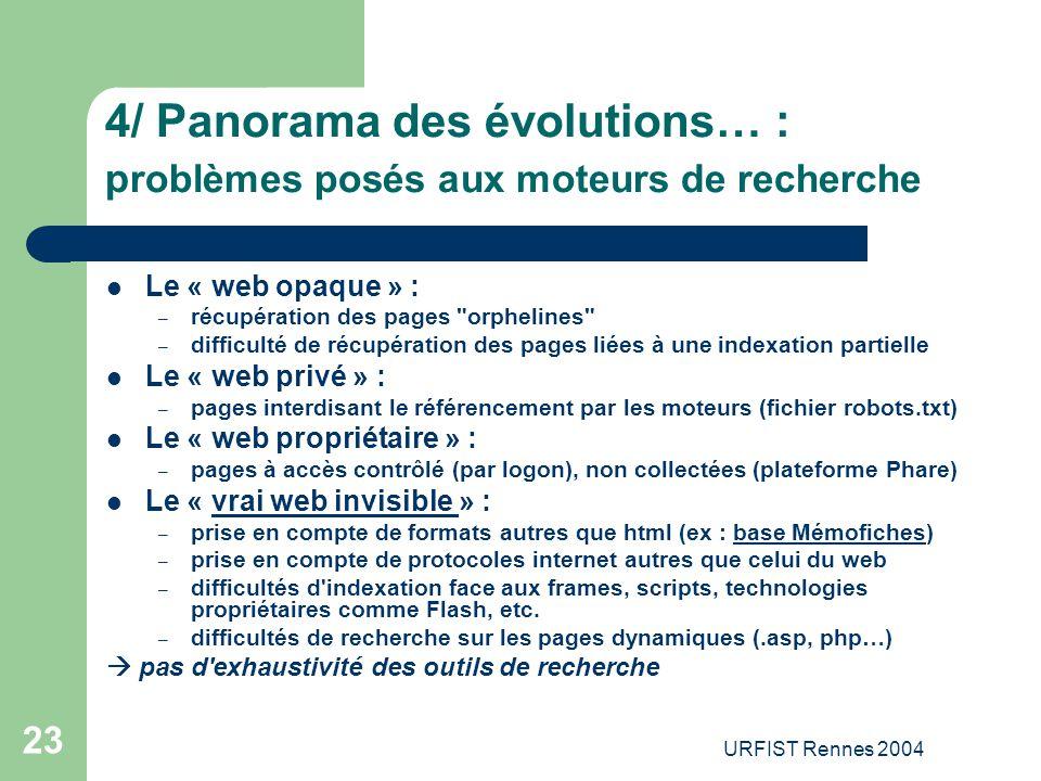 URFIST Rennes 2004 23 4/ Panorama des évolutions… : p roblèmes posés aux moteurs de recherche Le « web opaque » : – récupération des pages