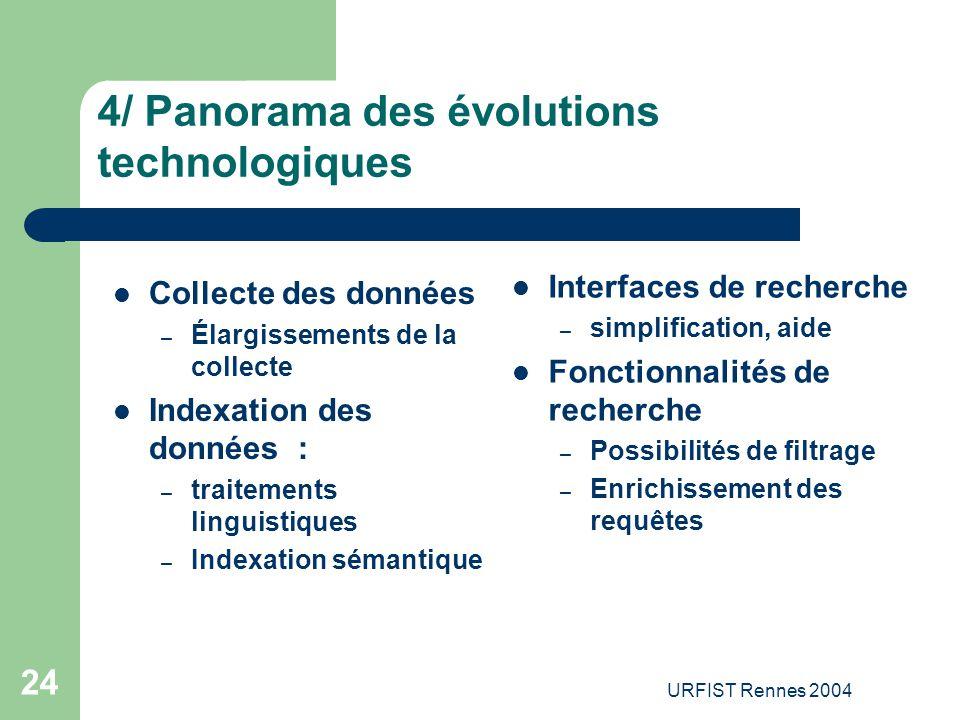 URFIST Rennes 2004 24 4/ Panorama des évolutions technologiques Collecte des données – Élargissements de la collecte Indexation des données : – traite