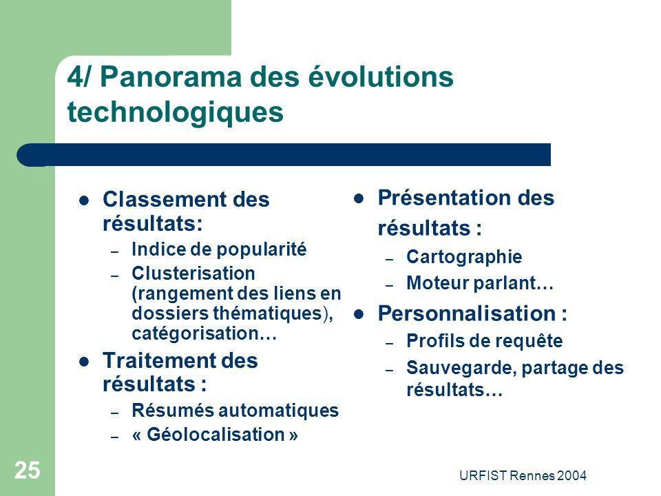 URFIST Rennes 2004 25 4/ Panorama des évolutions technologiques Classement des résultats: – Indice de popularité – Clusterisation (rangement des liens