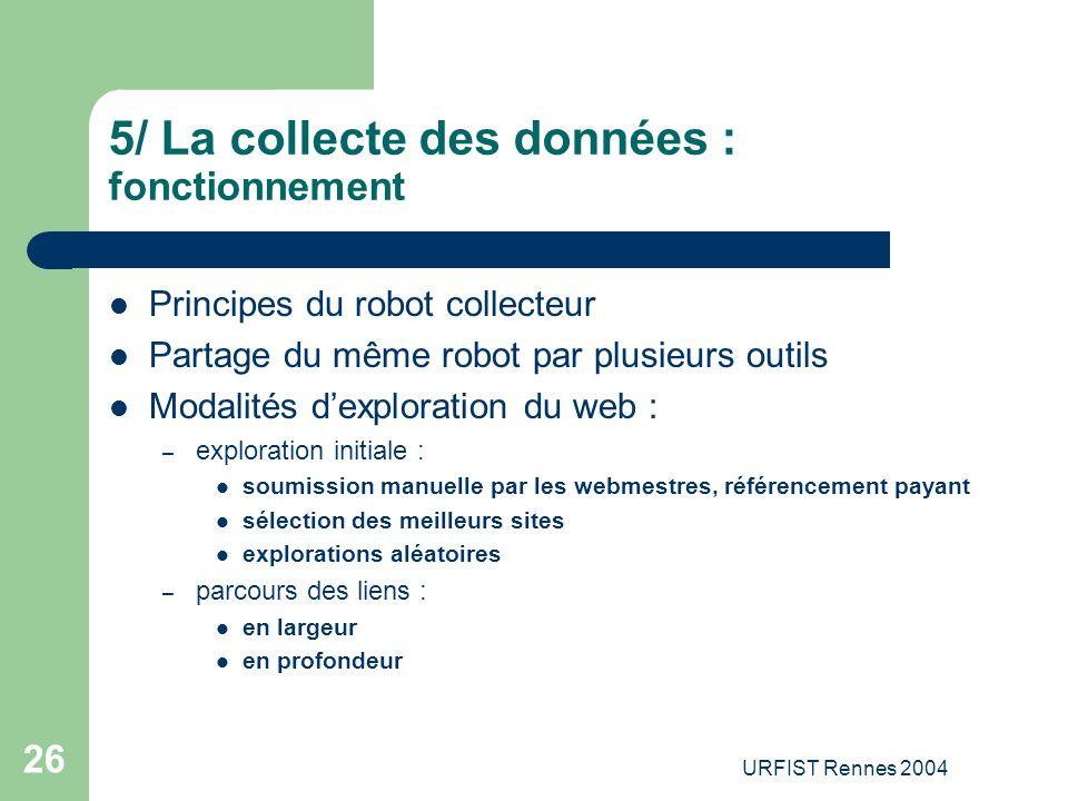 URFIST Rennes 2004 26 5/ La collecte des données : fonctionnement Principes du robot collecteur Partage du même robot par plusieurs outils Modalités d