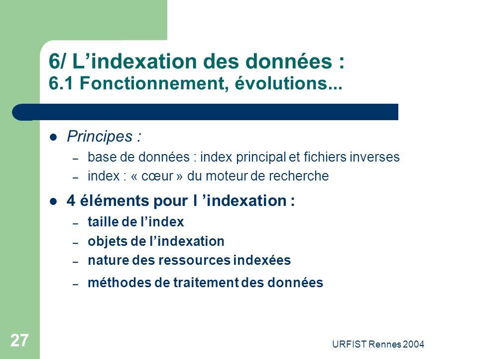 URFIST Rennes 2004 27 6/ L'indexation des données : 6.1 Fonctionnement, évolutions... Principes : – base de données : index principal et fichiers inve