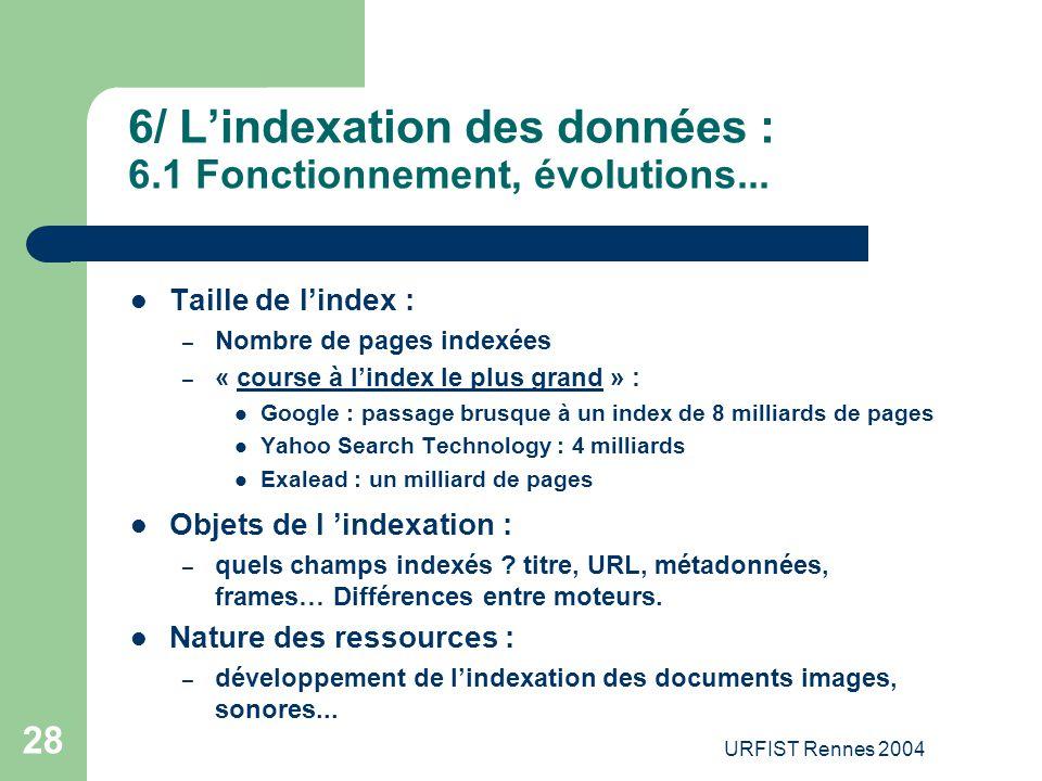 URFIST Rennes 2004 28 6/ L'indexation des données : 6.1 Fonctionnement, évolutions... Taille de l'index : – Nombre de pages indexées – « course à l'in