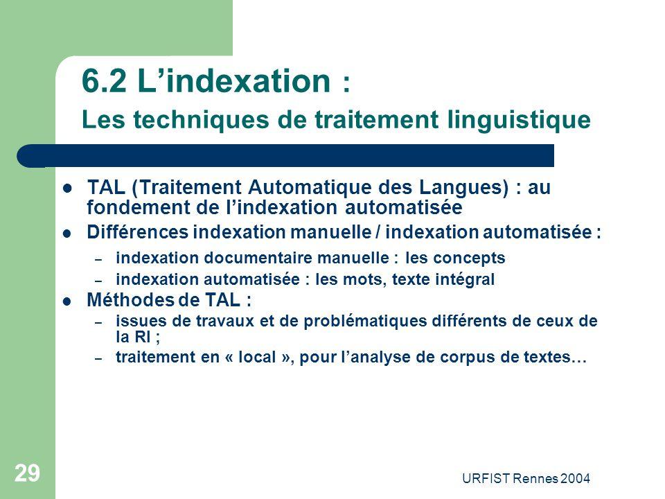 URFIST Rennes 2004 29 6.2 L'indexation : Les techniques de traitement linguistique TAL (Traitement Automatique des Langues) : au fondement de l'indexa