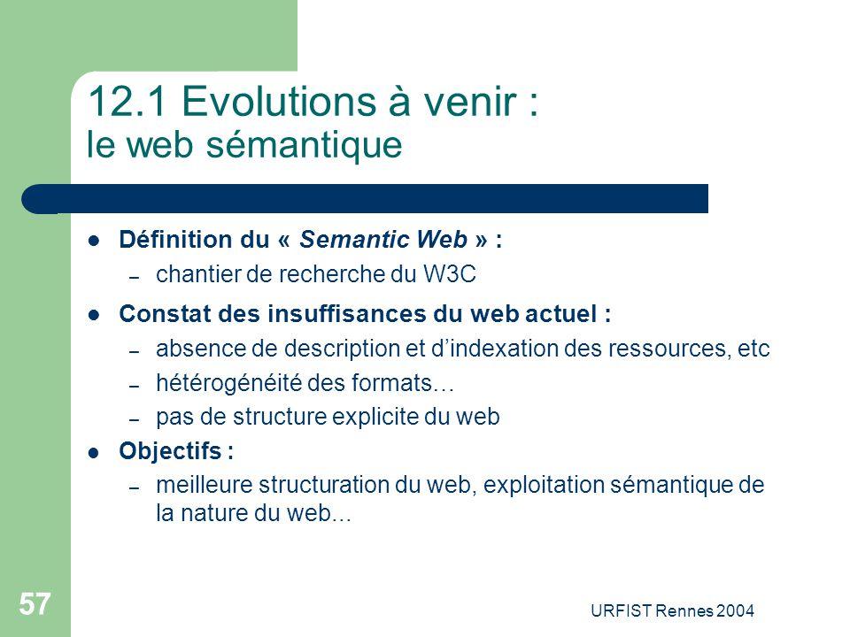 URFIST Rennes 2004 57 12.1 Evolutions à venir : le web sémantique Définition du « Semantic Web » : – chantier de recherche du W3C Constat des insuffis