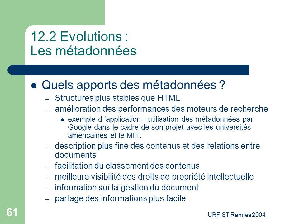 URFIST Rennes 2004 61 12.2 Evolutions : Les métadonnées Quels apports des métadonnées ? – Structures plus stables que HTML – amélioration des performa