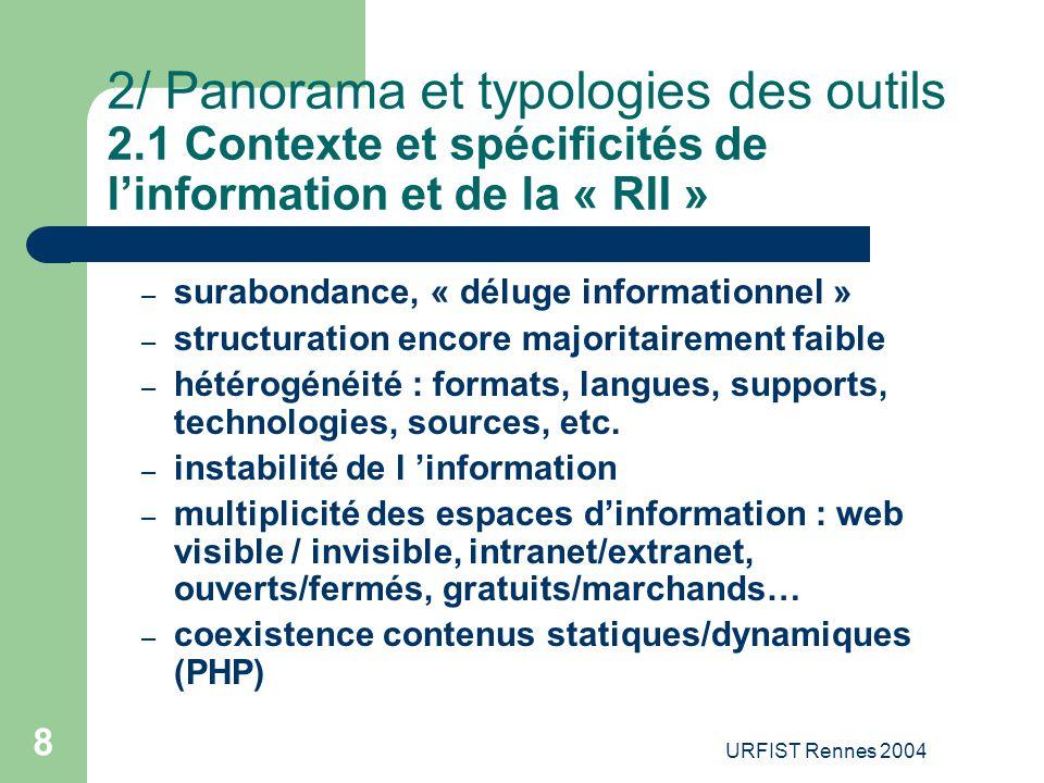 URFIST Rennes 2004 19 2/ Panorama de l'offre 2.7 Les moteurs de bureau (desktop search) Définition : – Outils d'indexation et de recherche de fichiers sur disque dur – Développement de ces solutions par les moteurs de recherche en complément de la recherche sur le web – Recherche sur le PC d'un document Word, d'un e-mail, d'une vidéo, d'un fichiers PDF, etc.