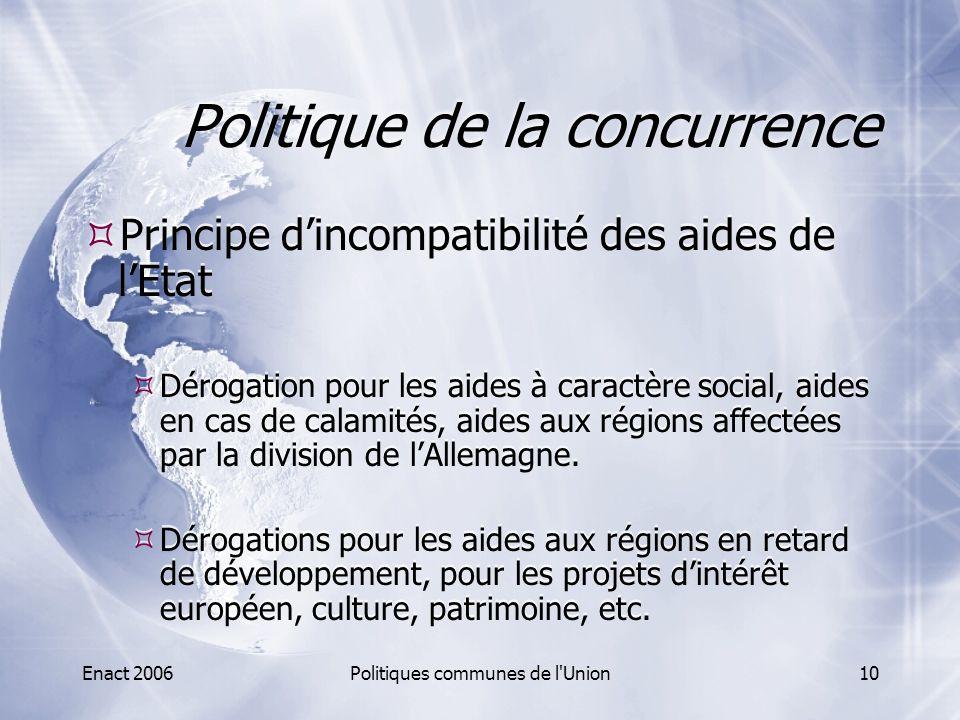 Enact 2006Politiques communes de l'Union10 Politique de la concurrence  Principe d'incompatibilité des aides de l'Etat  Dérogation pour les aides à