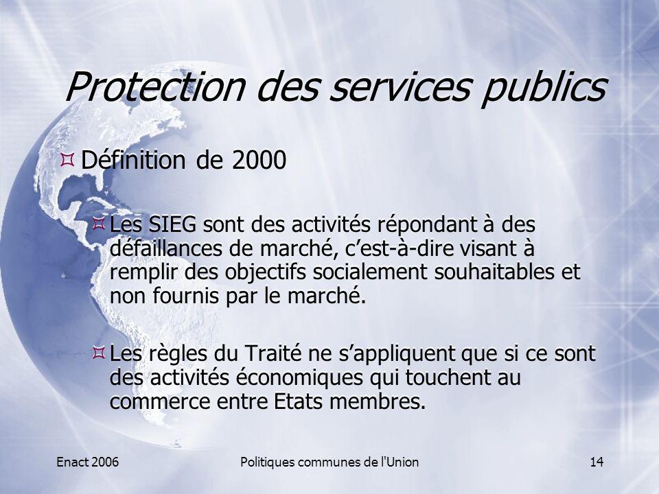 Enact 2006Politiques communes de l'Union14 Protection des services publics  Définition de 2000  Les SIEG sont des activités répondant à des défailla