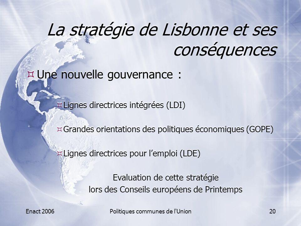 Enact 2006Politiques communes de l'Union20 La stratégie de Lisbonne et ses conséquences  Une nouvelle gouvernance :  Lignes directrices intégrées (L