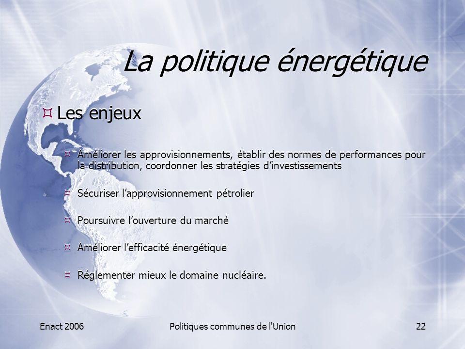 Enact 2006Politiques communes de l'Union22 La politique énergétique  Les enjeux  Améliorer les approvisionnements, établir des normes de performance
