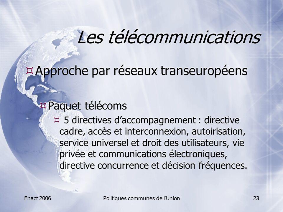 Enact 2006Politiques communes de l'Union23 Les télécommunications  Approche par réseaux transeuropéens  Paquet télécoms  5 directives d'accompagnem