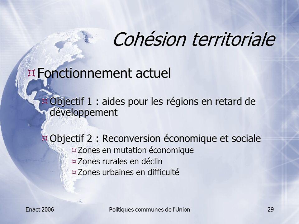 Enact 2006Politiques communes de l'Union29 Cohésion territoriale  Fonctionnement actuel  Objectif 1 : aides pour les régions en retard de développem