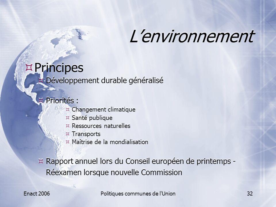 Enact 2006Politiques communes de l'Union32 L'environnement  Principes  Développement durable généralisé  Priorités :  Changement climatique  Sant