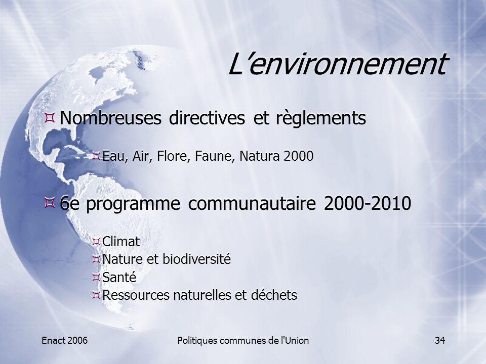 Enact 2006Politiques communes de l'Union34 L'environnement  Nombreuses directives et règlements  Eau, Air, Flore, Faune, Natura 2000  6e programme