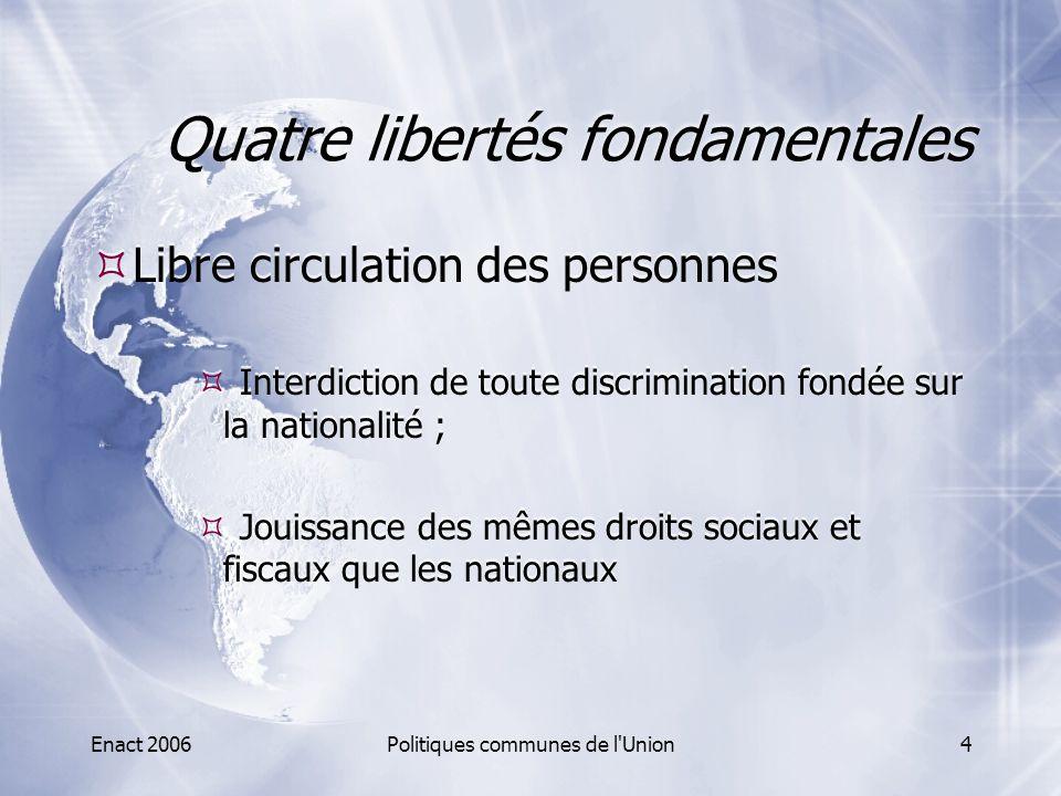Enact 2006Politiques communes de l'Union4 Quatre libertés fondamentales  Libre circulation des personnes  Interdiction de toute discrimination fondé