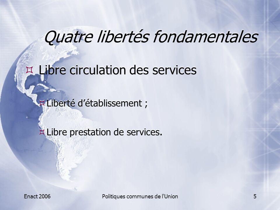 Enact 2006Politiques communes de l Union26 Cohésion territoriale  Fonds structurels  Feder (fonds euroépen de développement régional)  Infrastructures ;  PME ;  Éducation ;  Santé et recherche.