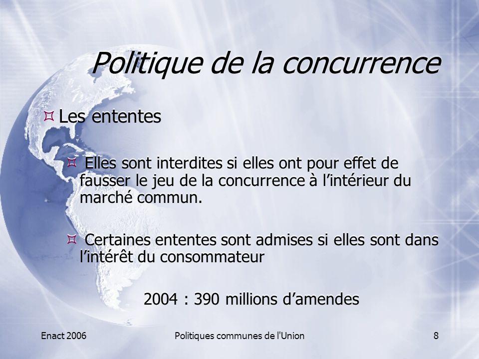 Enact 2006Politiques communes de l'Union8 Politique de la concurrence  Les ententes  Elles sont interdites si elles ont pour effet de fausser le jeu