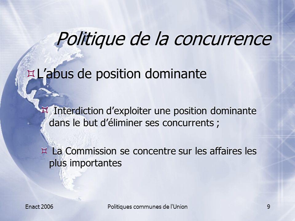 Enact 2006Politiques communes de l'Union9 Politique de la concurrence  L'abus de position dominante  Interdiction d'exploiter une position dominante