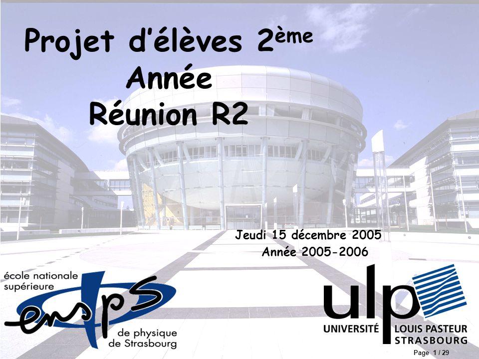Page 1 / 29 Année 2005-2006 Projet d'élèves 2 ème Année Réunion R2 Jeudi 15 décembre 2005