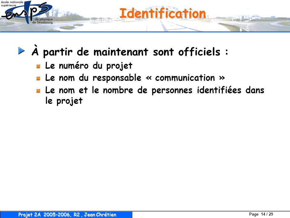 Page 14 / 29 Projet 2A 2005-2006, R2, Jean Chrétien Identification À partir de maintenant sont officiels : Le numéro du projet Le nom du responsable «
