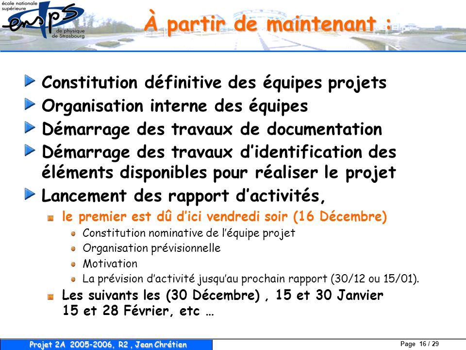 Page 16 / 29 Projet 2A 2005-2006, R2, Jean Chrétien À partir de maintenant : Constitution définitive des équipes projets Organisation interne des équi