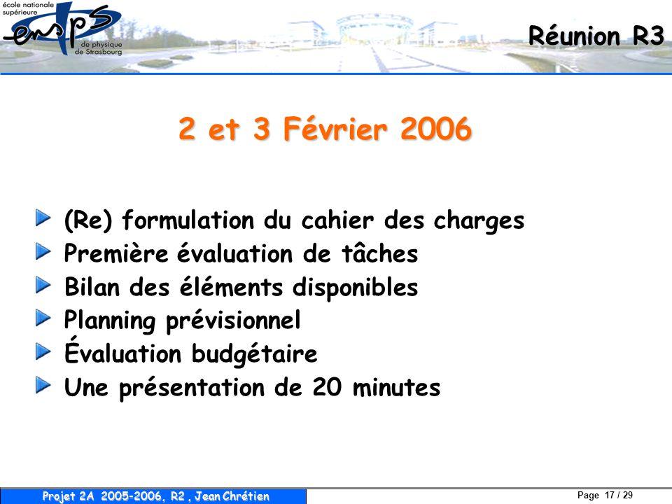 Page 17 / 29 Projet 2A 2005-2006, R2, Jean Chrétien 2 et 3 Février 2006 (Re) formulation du cahier des charges Première évaluation de tâches Bilan des