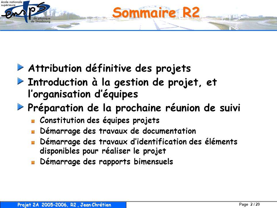 Page 2 / 29 Projet 2A 2005-2006, R2, Jean Chrétien Sommaire R2 Attribution définitive des projets Introduction à la gestion de projet, et l'organisati