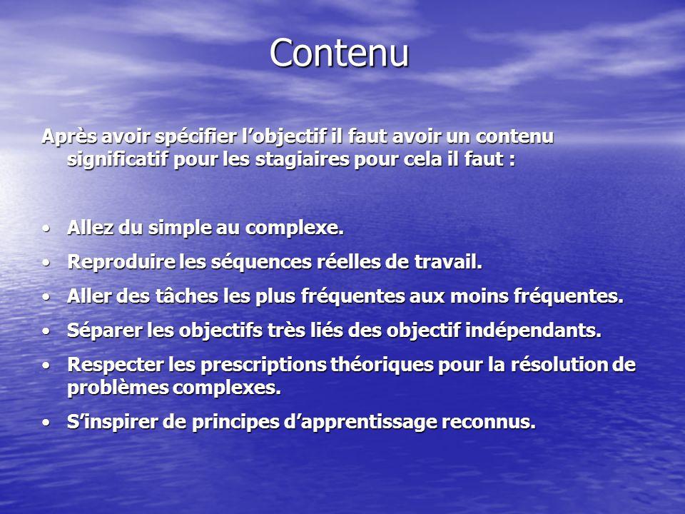 Contenu Après avoir spécifier l'objectif il faut avoir un contenu significatif pour les stagiaires pour cela il faut : Allez du simple au complexe.Allez du simple au complexe.