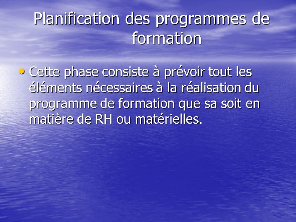 Planification des programmes de formation Cette phase consiste à prévoir tout les éléments nécessaires à la réalisation du programme de formation que sa soit en matière de RH ou matérielles.