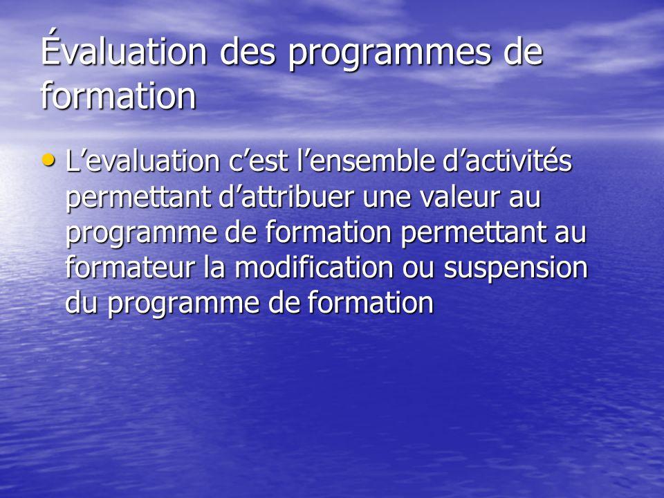 Évaluation des programmes de formation L'evaluation c'est l'ensemble d'activités permettant d'attribuer une valeur au programme de formation permettant au formateur la modification ou suspension du programme de formation L'evaluation c'est l'ensemble d'activités permettant d'attribuer une valeur au programme de formation permettant au formateur la modification ou suspension du programme de formation