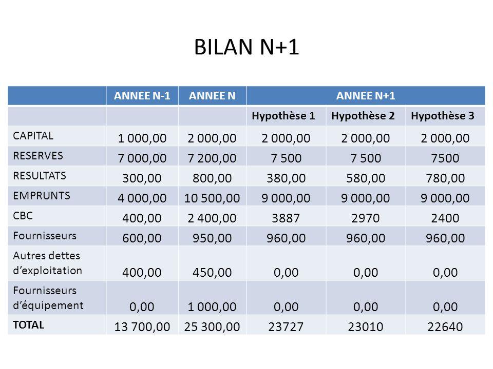 BILAN N+1 ANNEE N-1ANNEE NANNEE N+1 Hypothèse 1Hypothèse 2Hypothèse 3 CAPITAL 1 000,002 000,00 RESERVES 7 000,007 200,007 500 RESULTATS 300,00800,0038