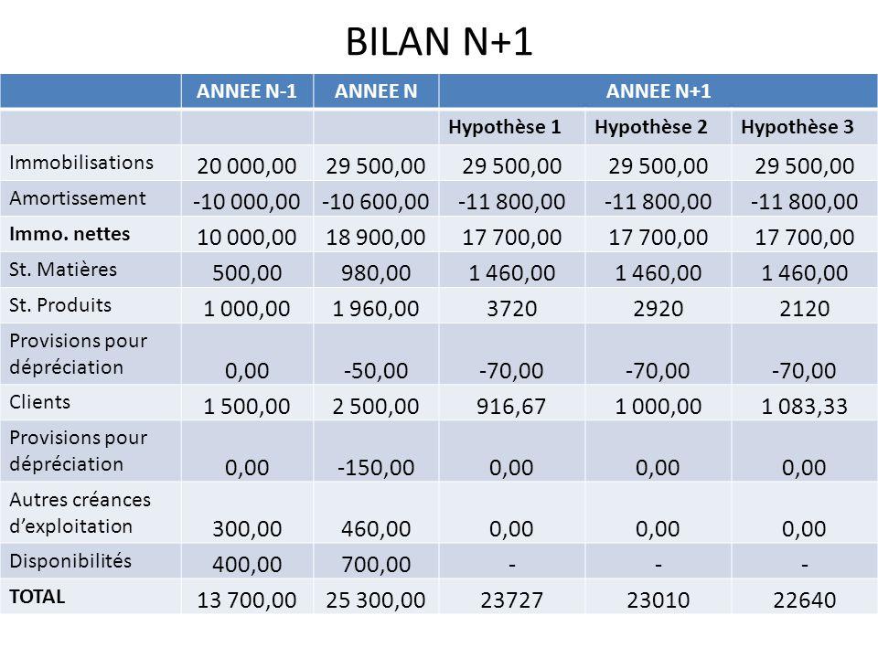 BILAN N+1 ANNEE N-1ANNEE NANNEE N+1 Hypothèse 1Hypothèse 2Hypothèse 3 Immobilisations 20 000,0029 500,00 Amortissement -10 000,00-10 600,00-11 800,00 Immo.