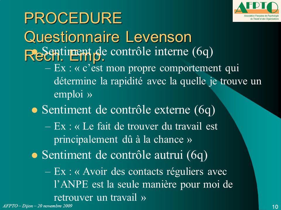 AFPTO – Dijon – 20 novembre 2009 10 PROCEDURE Questionnaire Levenson Rech. Emp. Sentiment de contrôle interne (6q) –Ex : « c'est mon propre comporteme