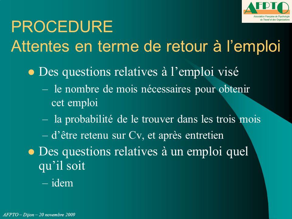 AFPTO – Dijon – 20 novembre 2009 PROCEDURE Attentes en terme de retour à l'emploi Des questions relatives à l'emploi visé – le nombre de mois nécessai