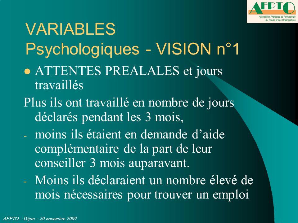 AFPTO – Dijon – 20 novembre 2009 VARIABLES Psychologiques - VISION n°1 ATTENTES PREALALES et jours travaillés Plus ils ont travaillé en nombre de jour