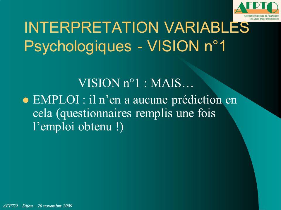 AFPTO – Dijon – 20 novembre 2009 INTERPRETATION VARIABLES Psychologiques - VISION n°1 VISION n°1 : MAIS… EMPLOI : il n'en a aucune prédiction en cela