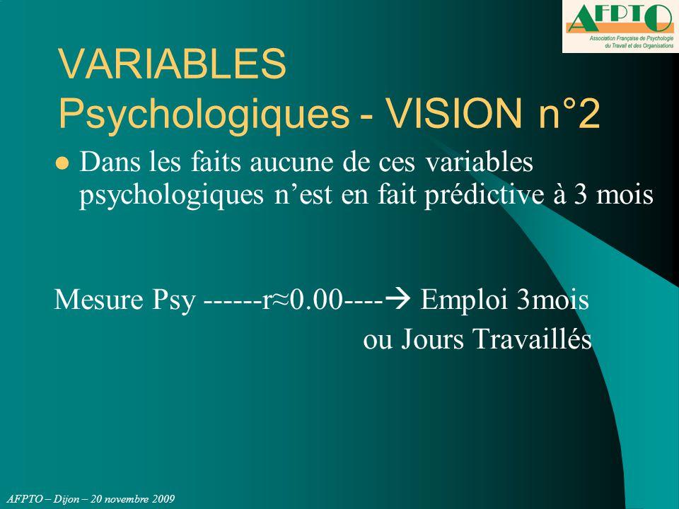 AFPTO – Dijon – 20 novembre 2009 VARIABLES Psychologiques - VISION n°2 Dans les faits aucune de ces variables psychologiques n'est en fait prédictive