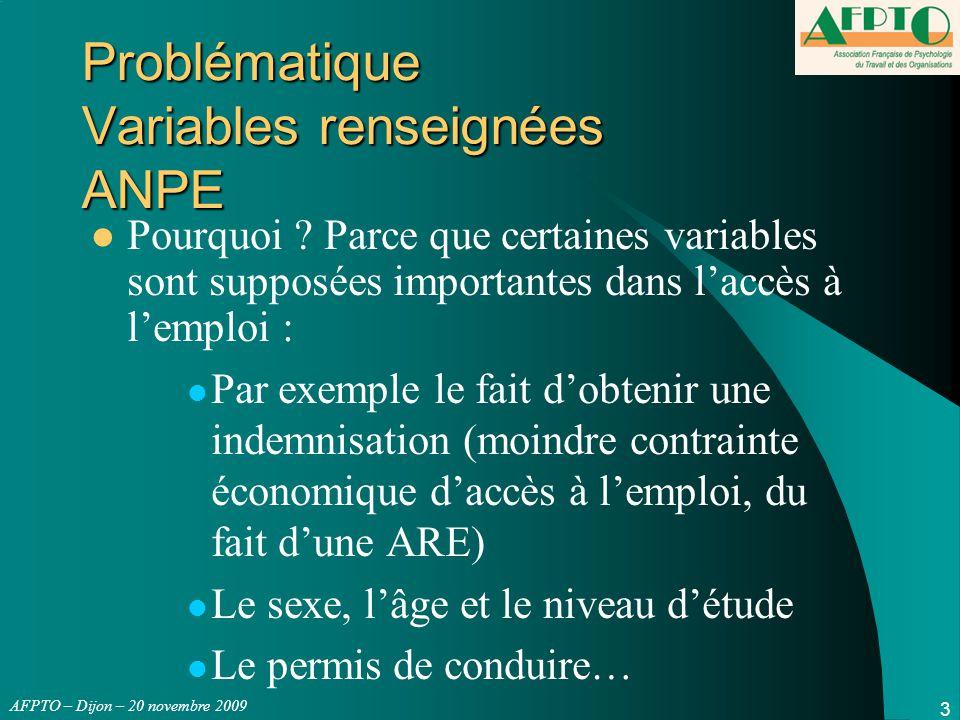 AFPTO – Dijon – 20 novembre 2009 3 Problématique Variables renseignées ANPE Pourquoi ? Parce que certaines variables sont supposées importantes dans l