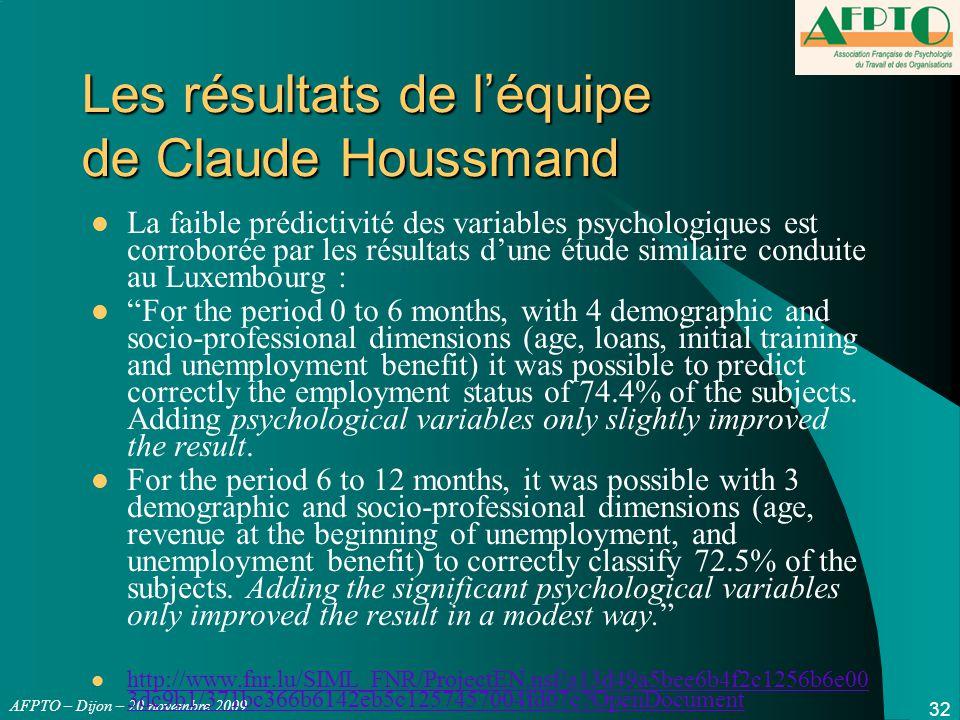 AFPTO – Dijon – 20 novembre 2009 32 Les résultats de l'équipe de Claude Houssmand La faible prédictivité des variables psychologiques est corroborée p