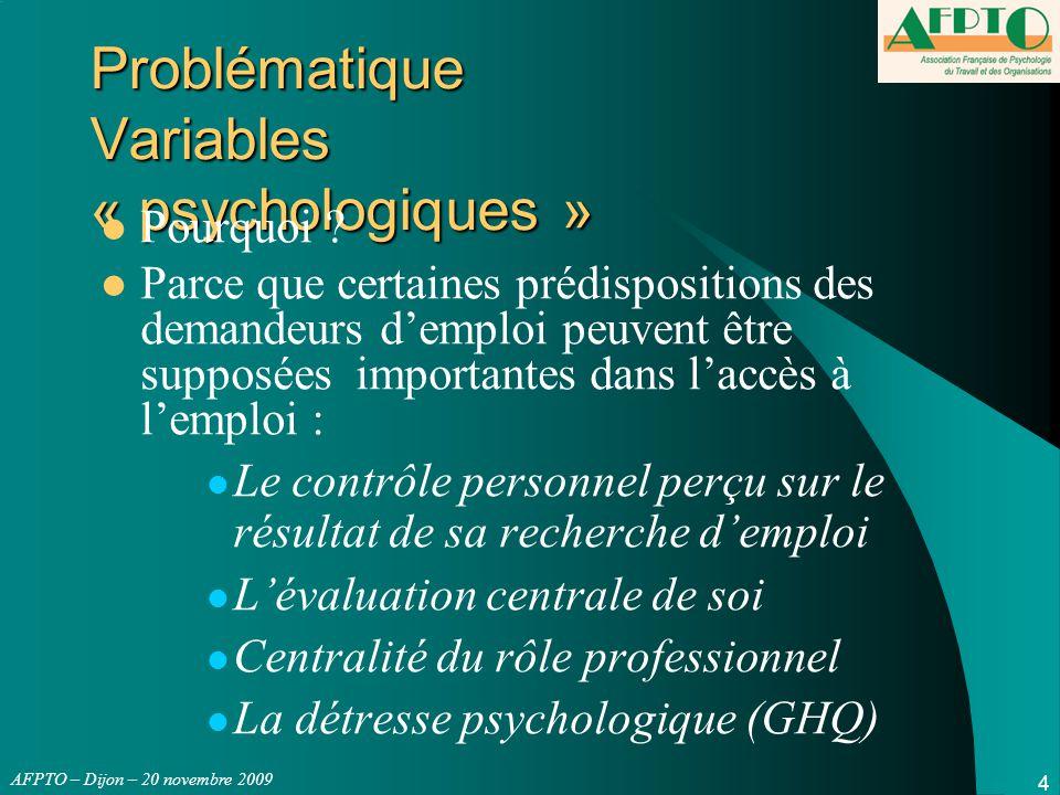 AFPTO – Dijon – 20 novembre 2009 INTERPRETATION VARIABLES Psychologiques - VISION n°1 VISION n°1 : MAIS… ATTENTES : 1/Significatif mais très faible part de variance expliquée :0,15*0,15= 2,25% de la variance expliquée de l'accès à l'emploi.