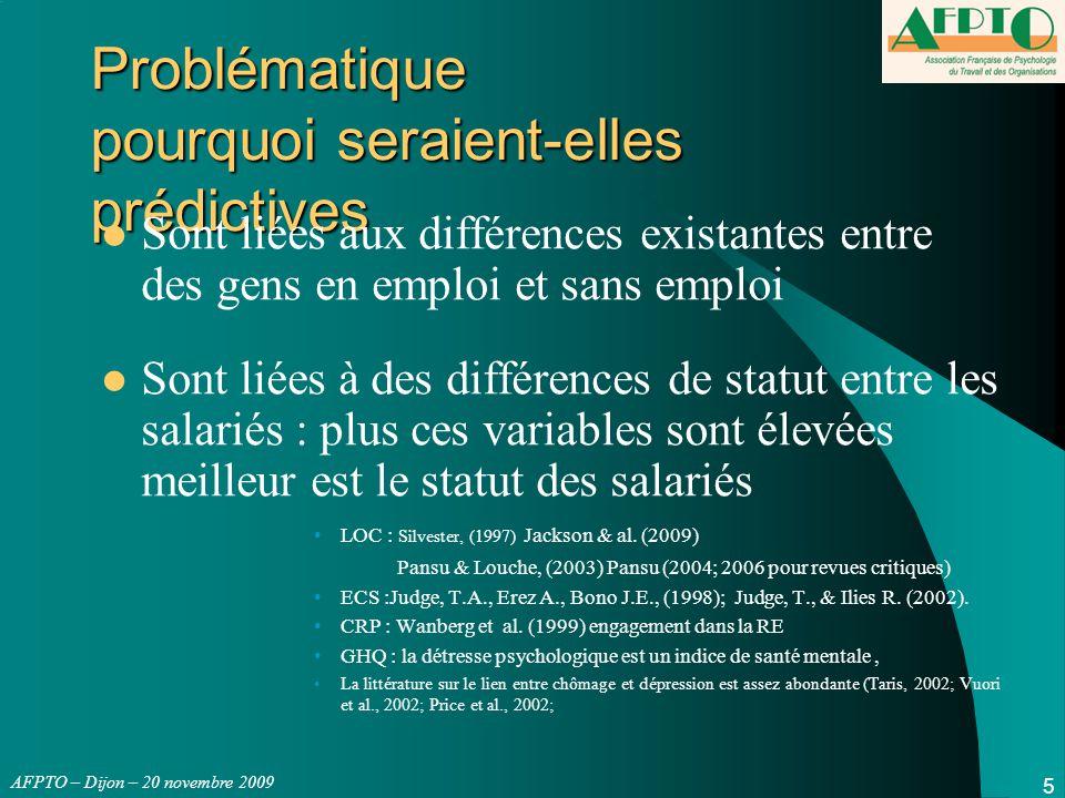 AFPTO – Dijon – 20 novembre 2009 VARIABLES Psychologiques - VISION n°2 Dans les faits aucune de ces variables psychologiques n'est en fait prédictive à 3 mois Mesure Psy ------r≈0.00----  Emploi 3mois ou Jours Travaillés